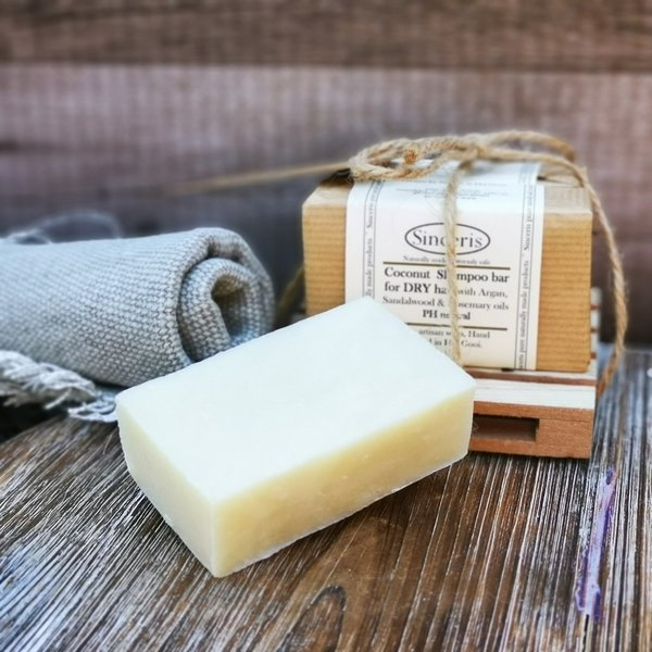 Coconut  Shampoo bar for DRY hair with Argan, Sandalwood & Rosemary oils  pH neutral